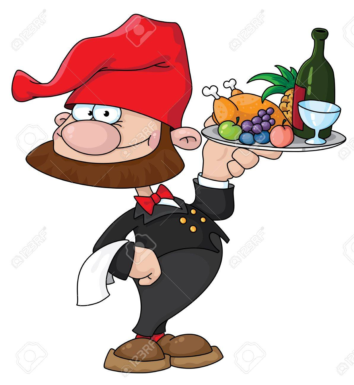 illustration of a waiter gnome with food tray Stock Vector - 11592665