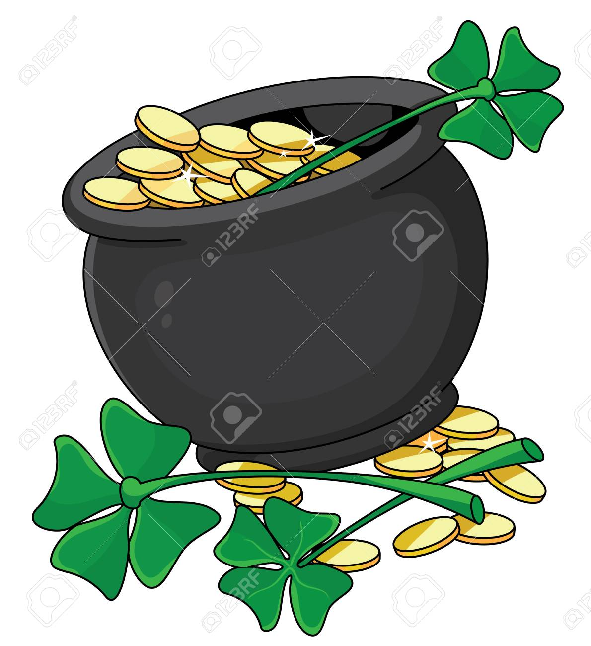 illustration of a pot and clover Stock Vector - 11592896
