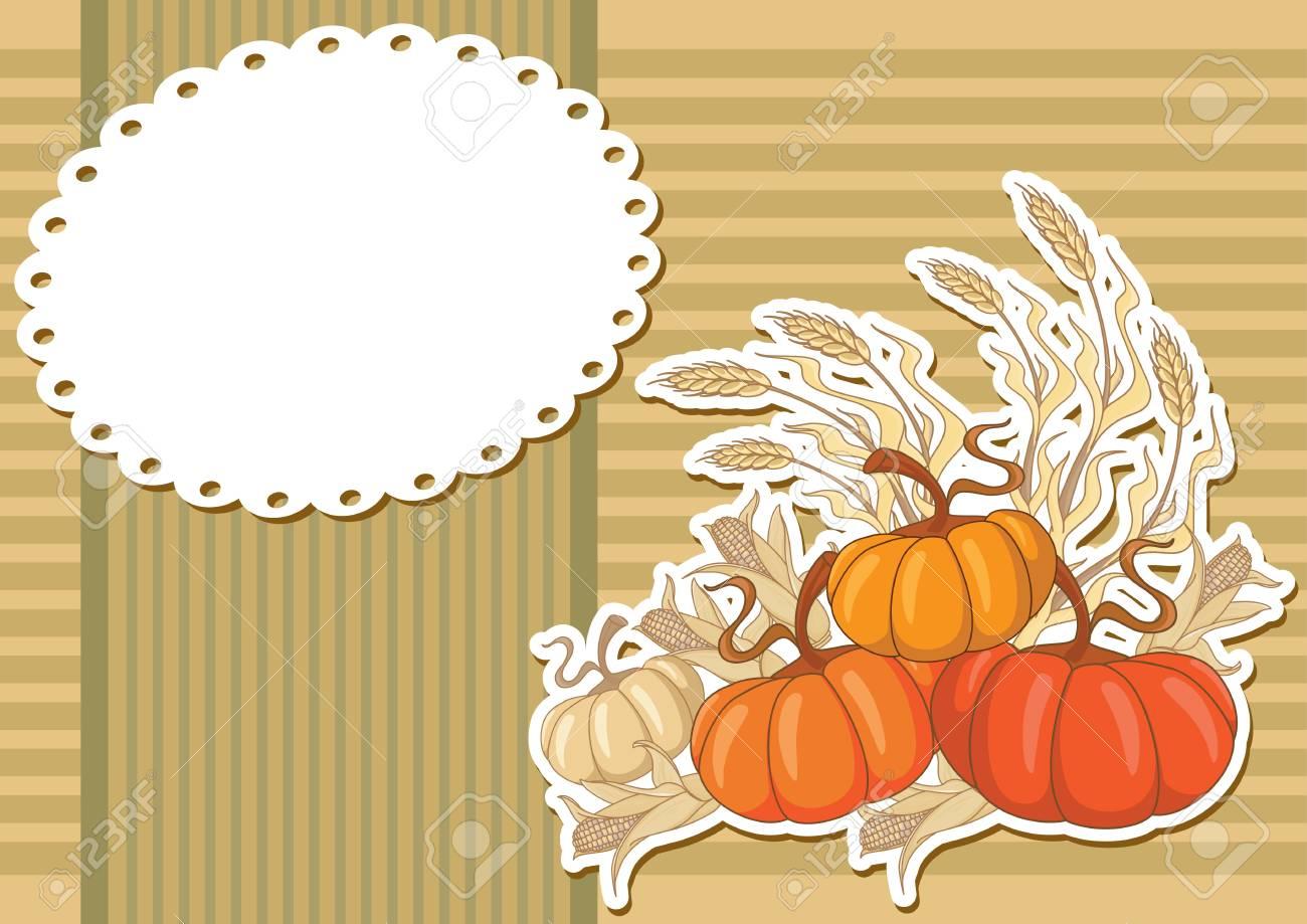 illustration of a pumpkin sticker background Stock Vector - 11592924