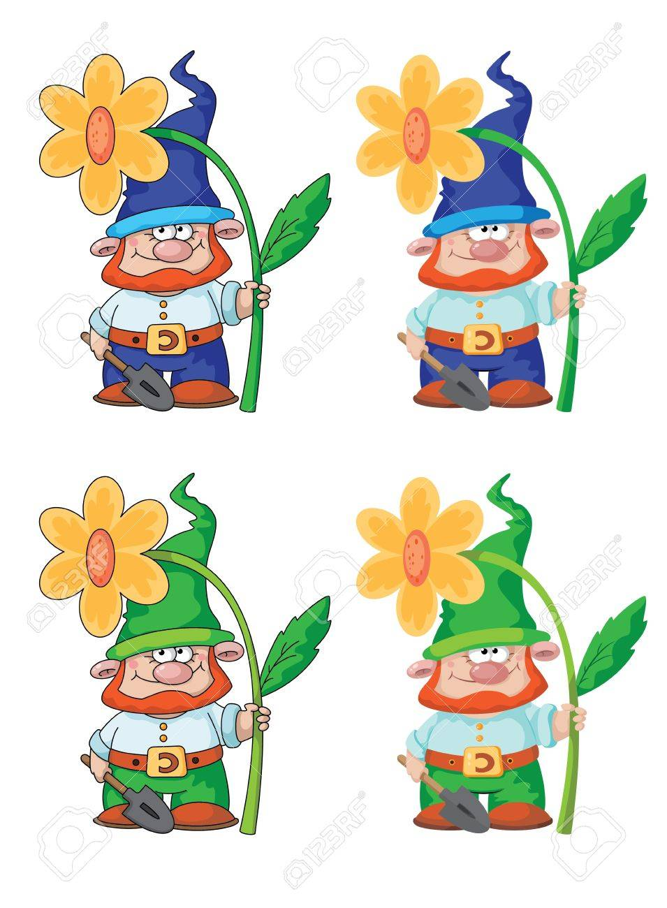 illustration of a gnome and flower Stock Vector - 16023342
