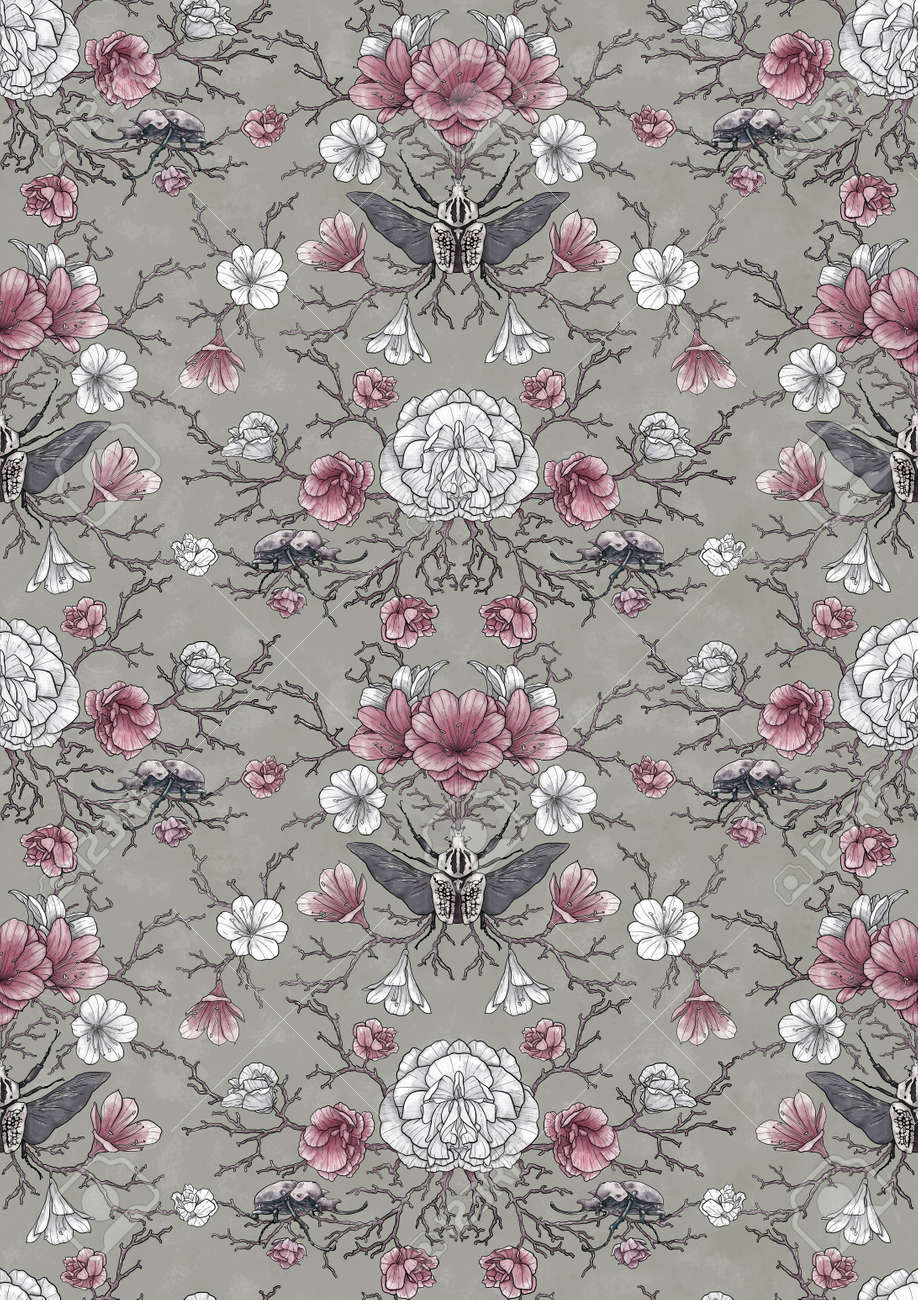 Seamless pattern, hand-drawing of intertwining branches and beautiful flowers with mysterious beetles. Solution for design fabric, wallpaper, gift paper - 159544551