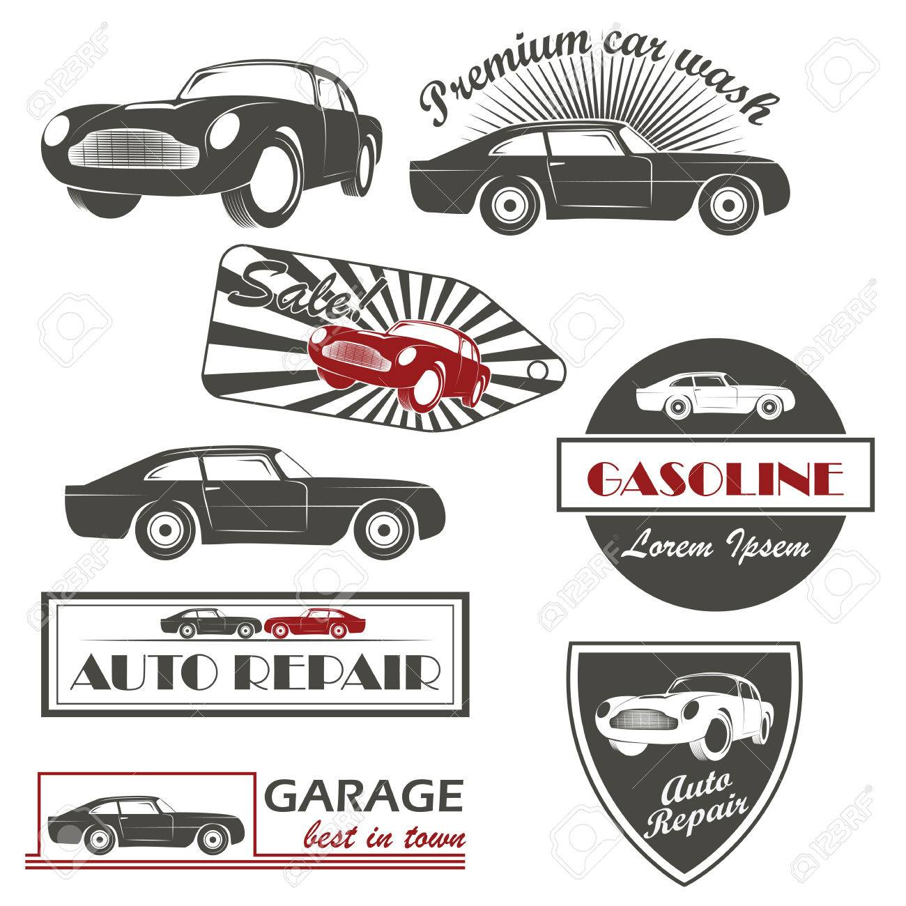 Car Service And Car Sale Retro Labels And Icons Royalty Free ...