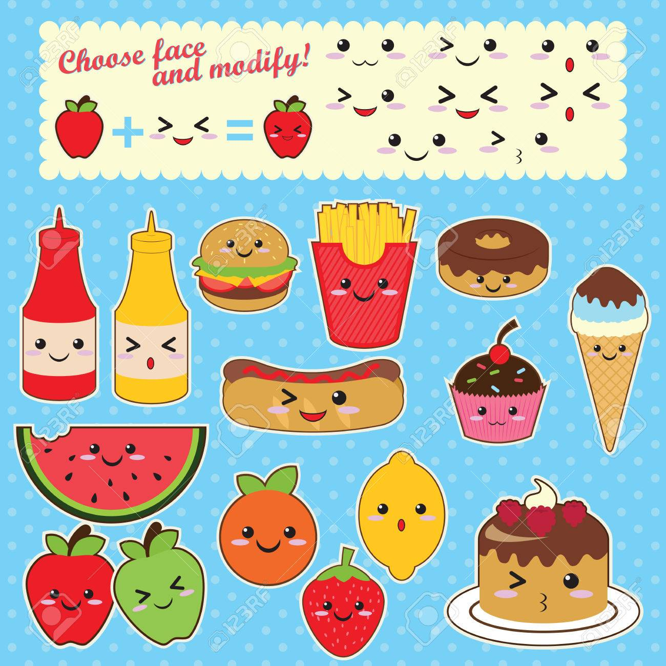 Lovely Cute Kawaii Food Characters Fast Food Sweet Fruit Stock Vector   39207254