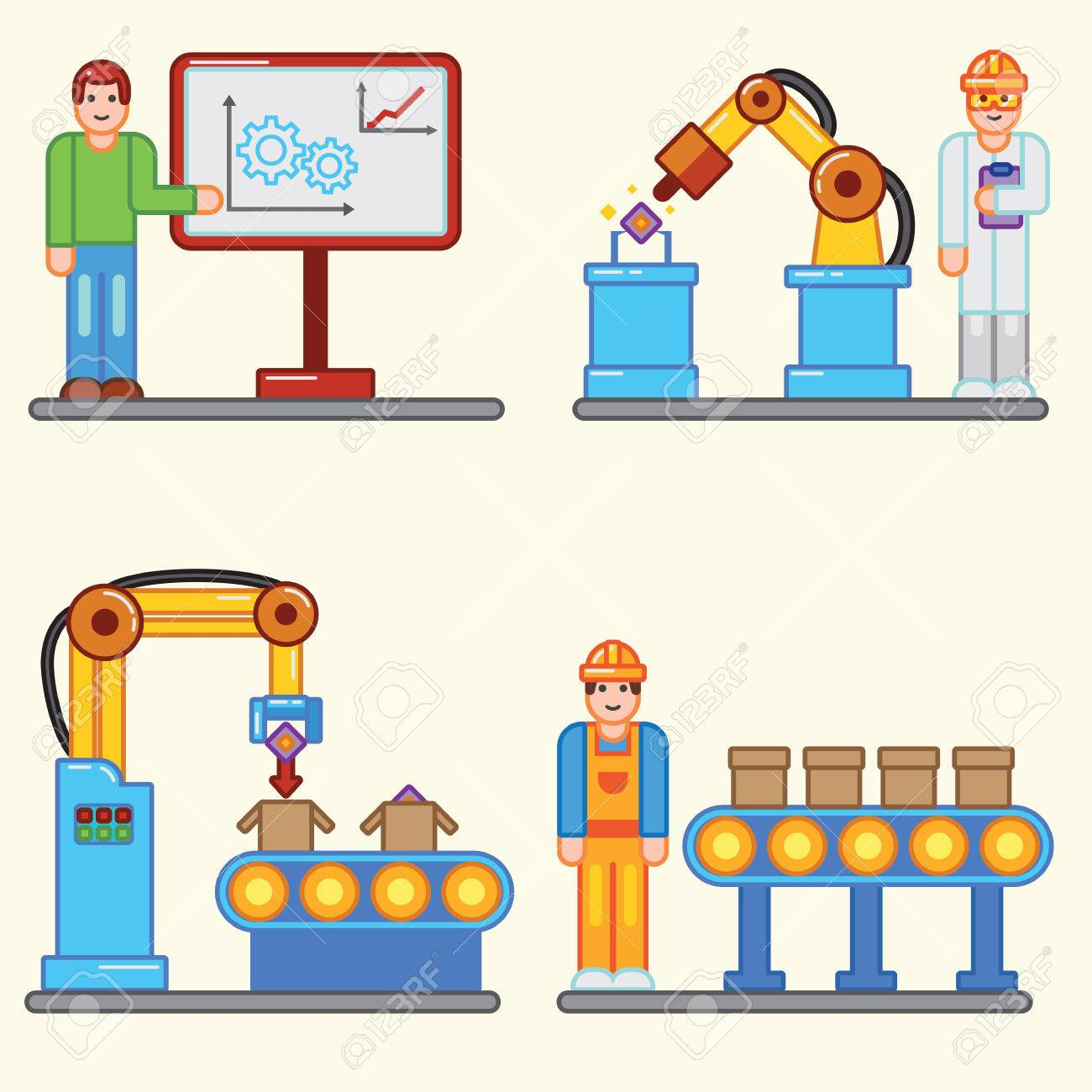 Color Flat Illustrations Info Graphic Factory Production Process ...