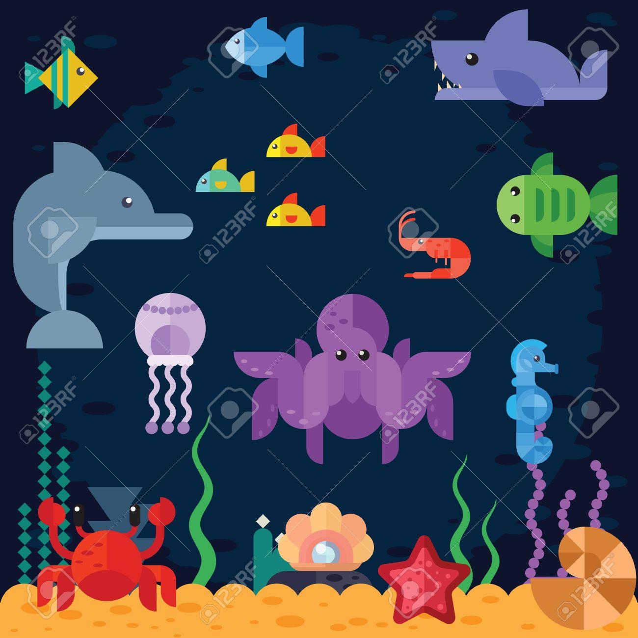ocean underwater life sea animals fishing boat vector flat
