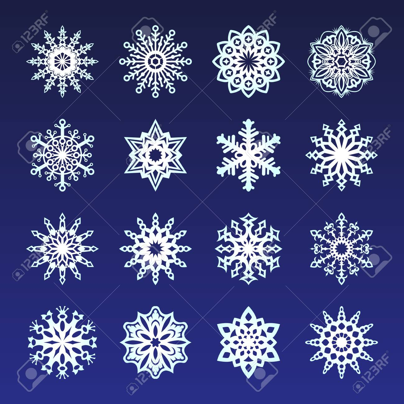 Separate Snowflakes Doodles Icon White Vector Rustic Christmas Clipart New Year Snow Crystal Illustration In Flat