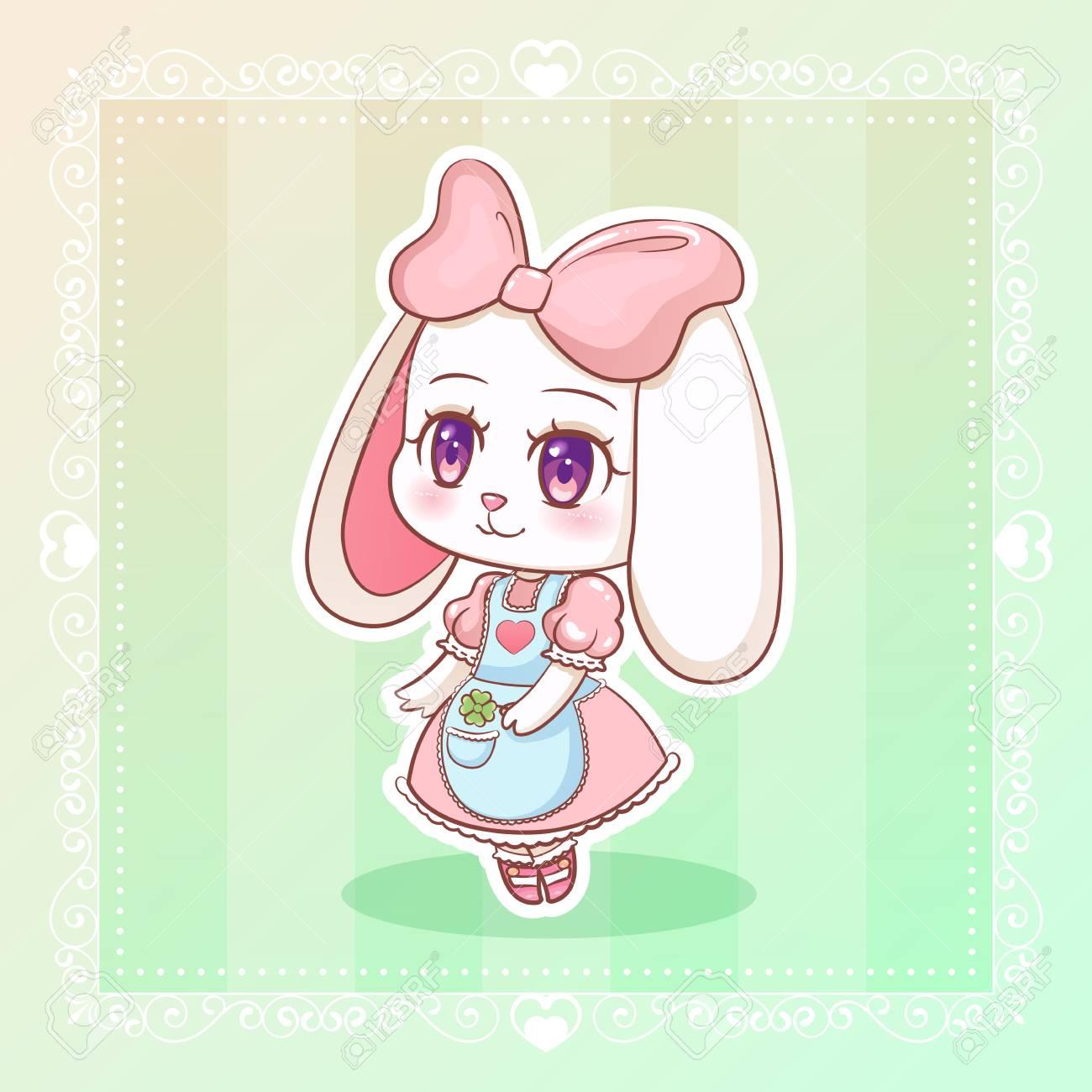 Sweet rabbit little cute kawaii anime cartoon bunny girl in dress with pink ribbon eps10 stock