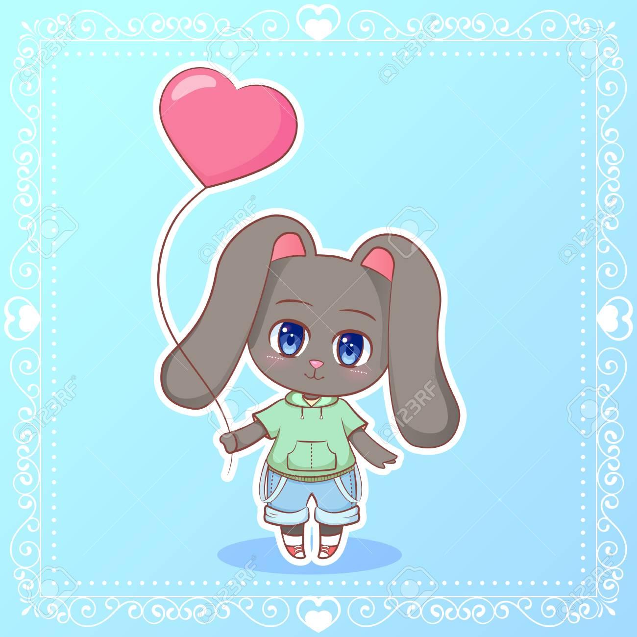 Lapin Doux Petit Mignon Kawaii Anime Dessin Anime Garcon Lapin Avec