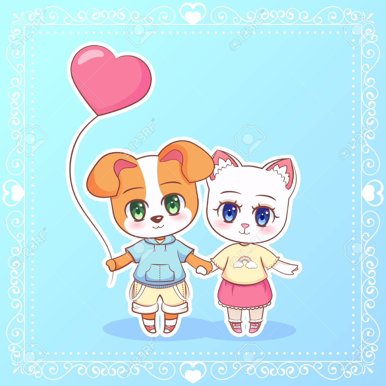 Sweet Little Cute Anime Cartoon Puppy Cat Kitten Dog Boy And Royalty Free Cliparts Vectors And Stock Illustration Image 93461793