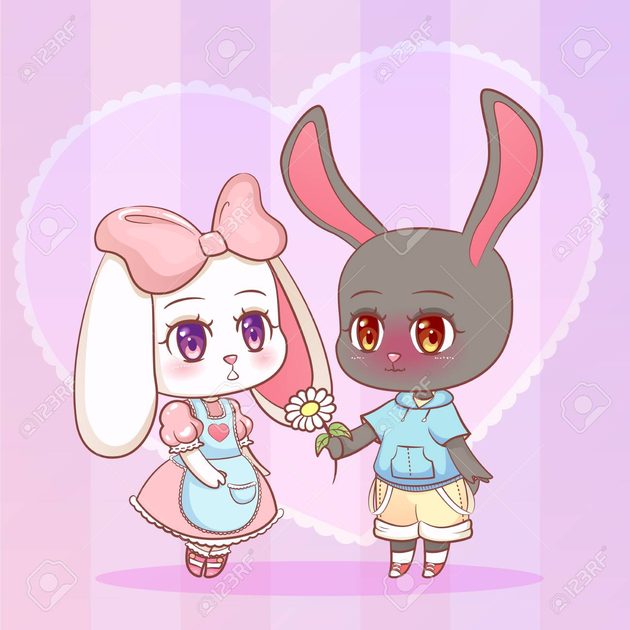 Sweet Little Cute Anime Cartoon Puppy Bunny Rabbit Boy And Girl