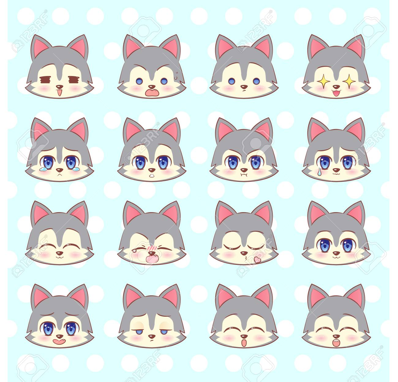 Emoticons Emoji Smiley Set Colorful Sweet Kitty Little Cute