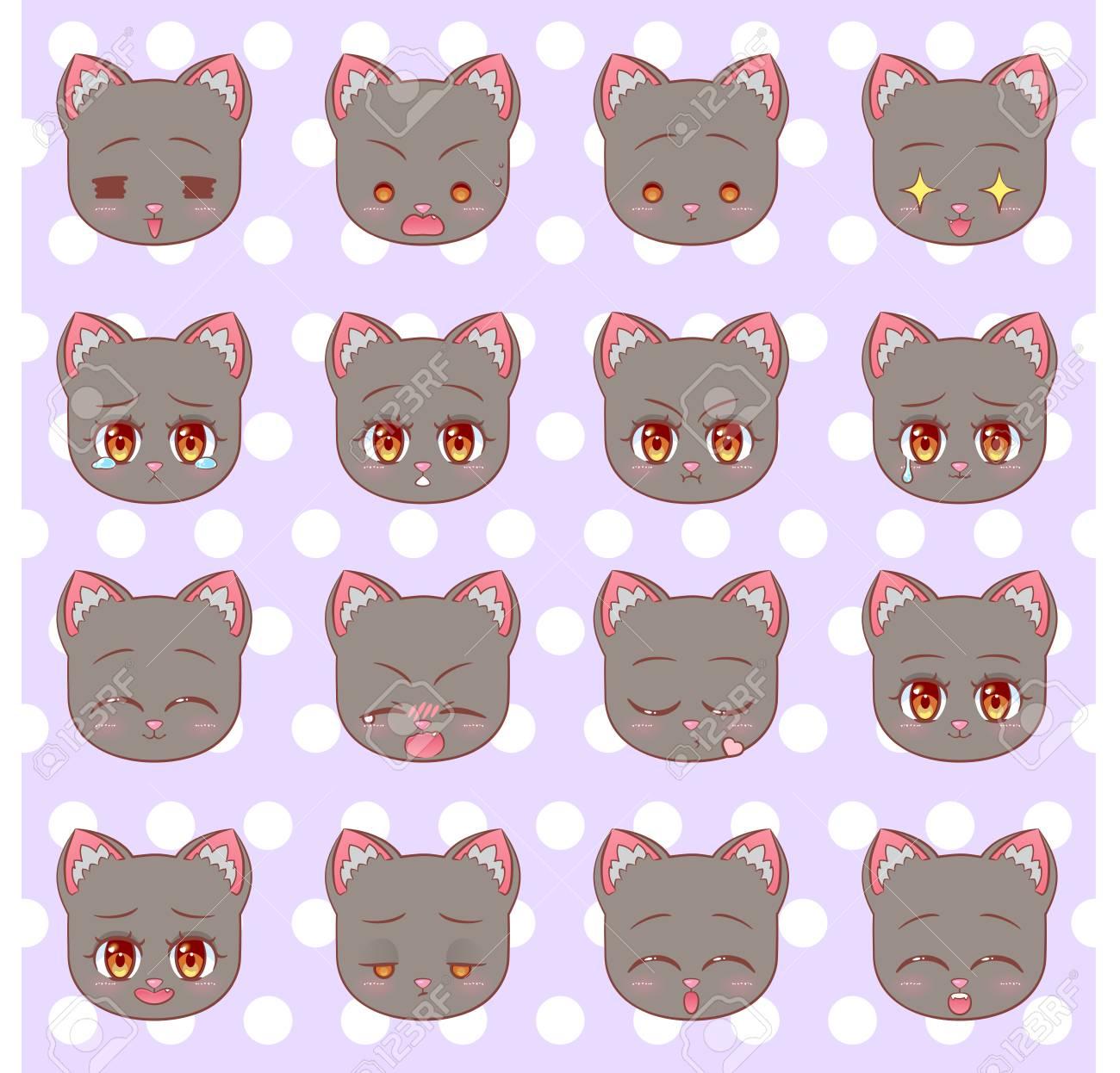 Emoticons emoji smiley set colorful sweet kitty little cute kawaii anime cartoon cat kitten girl