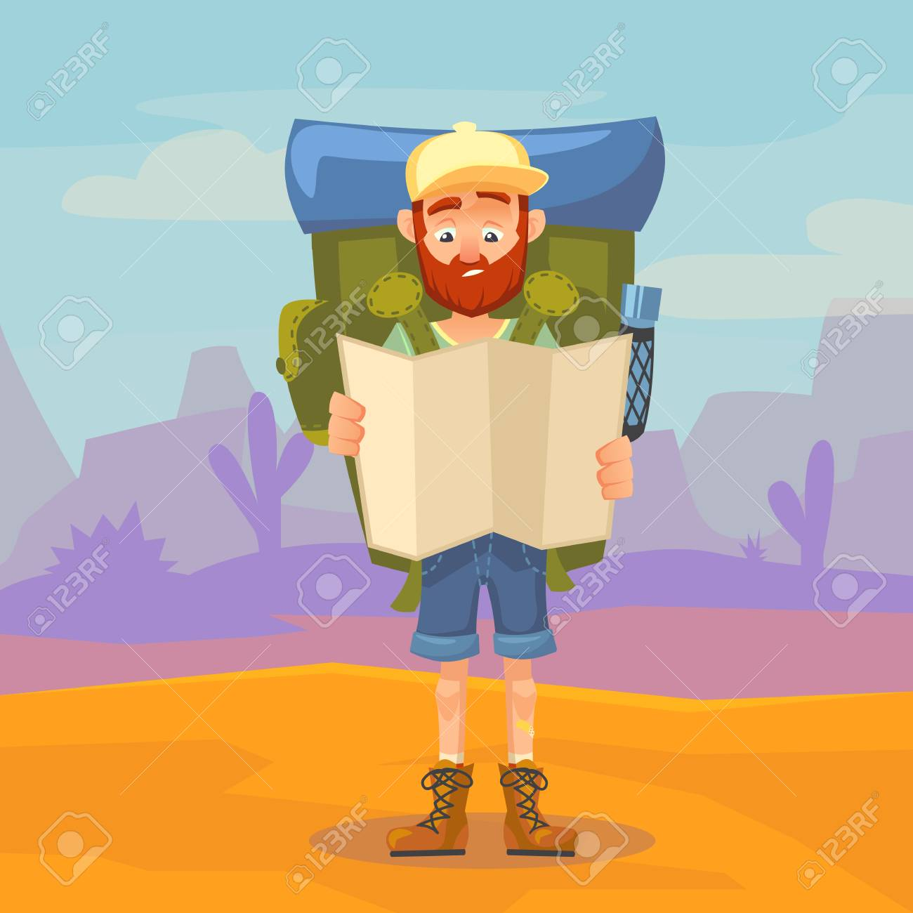 Clipart of a Friendly Outdoors Man Standing on a Boulder by Zooco - #259