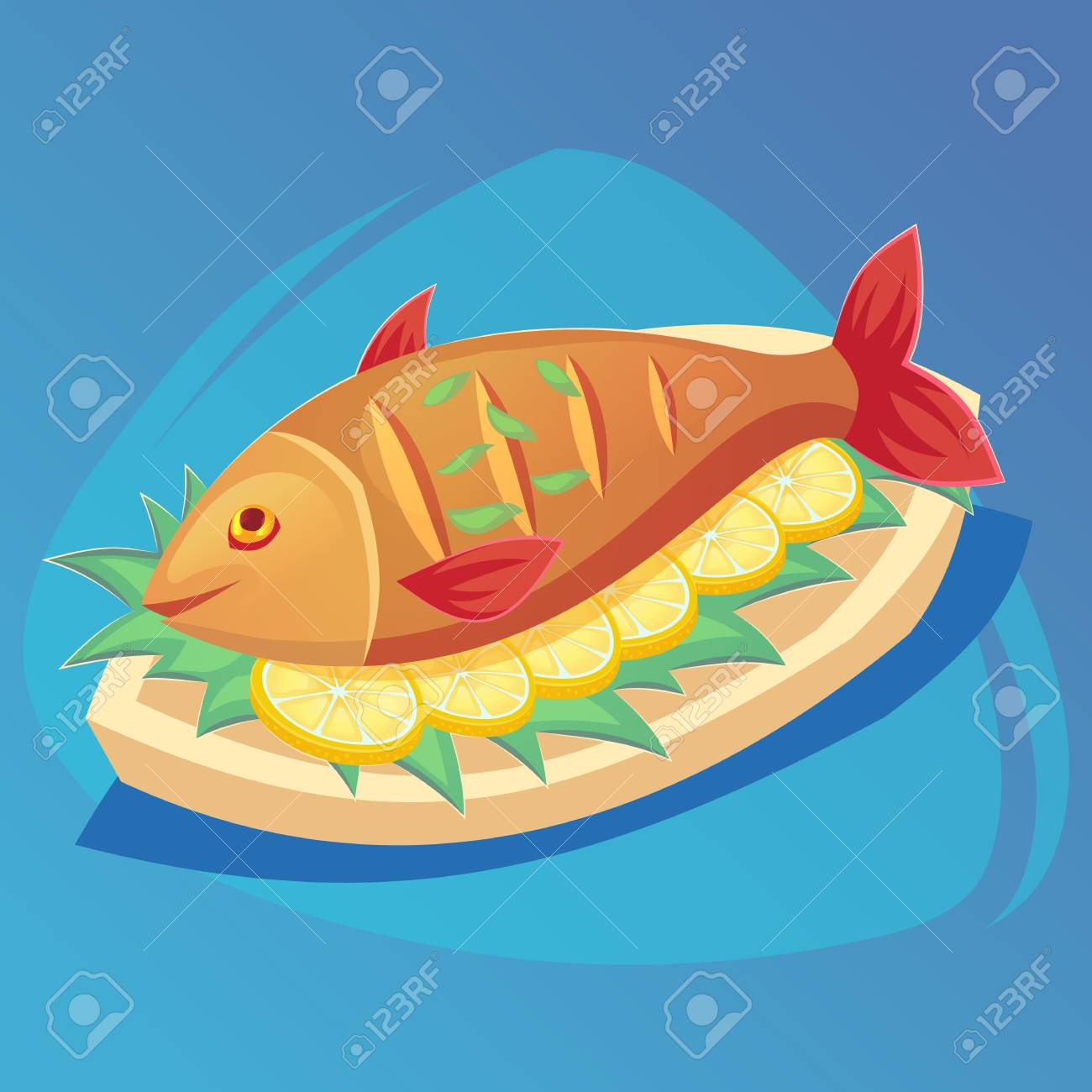 Fish Icon Crucian On White Plate With Lemon And Herbs Food Royalty Free Cliparts Vectors And Stock Illustration Image 102007967