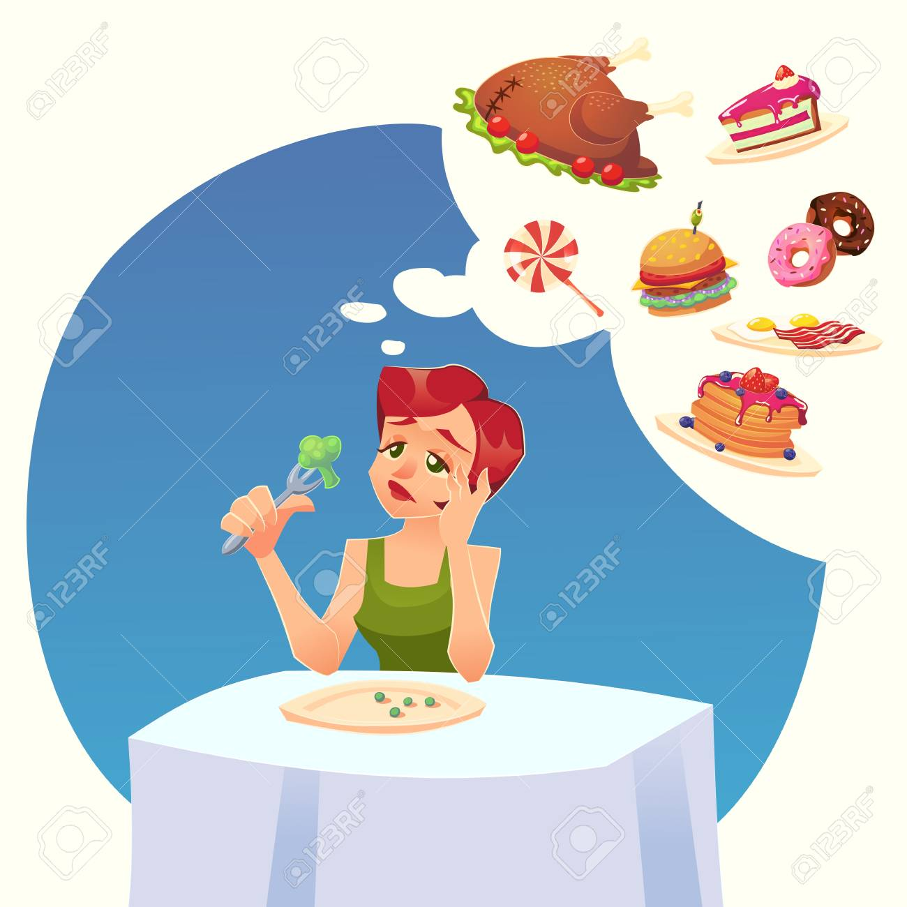 1d17b36630f Girl woman on a diet. Tasty desires for food. Vector Colorful cartoon  illustration eps10
