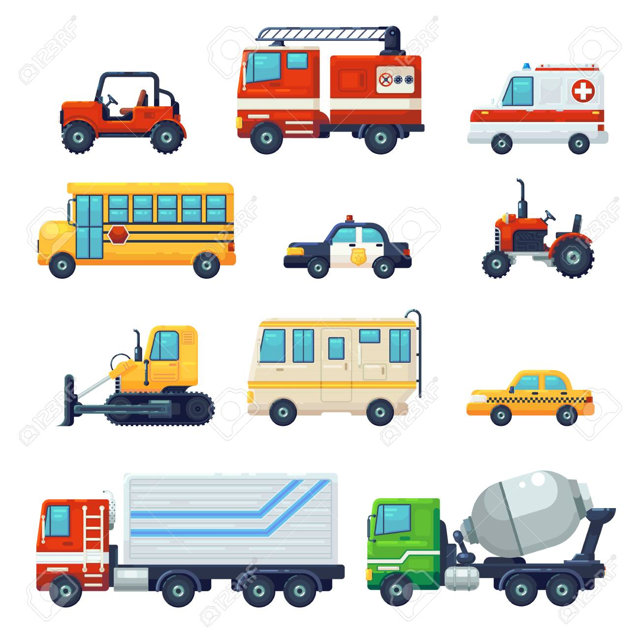 Contains such as Heavy industrial vehicle car, tractor, police ambulance school bus, Fire fighting car . Can be used for websites, infographics, mobile apps. . Flat cartoon Vector Illustration Graphic Design - 120737486