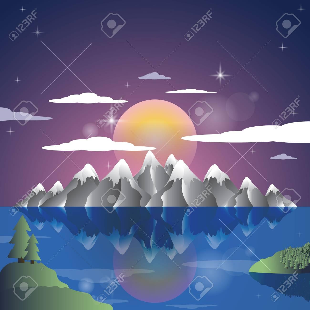 Alps Landscape sunset cartoon illustration background. Mountains vector. - 95150212