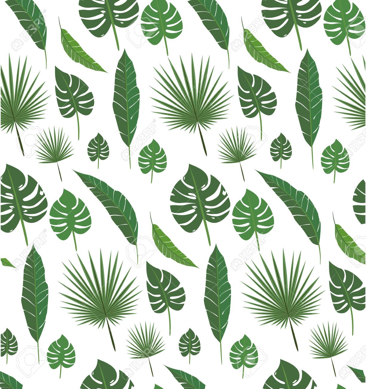 Palm Leafs Seamless Pattern Set For Decoration For Design Print Royalty Free Cliparts Vectors And Stock Illustration Image 110944638