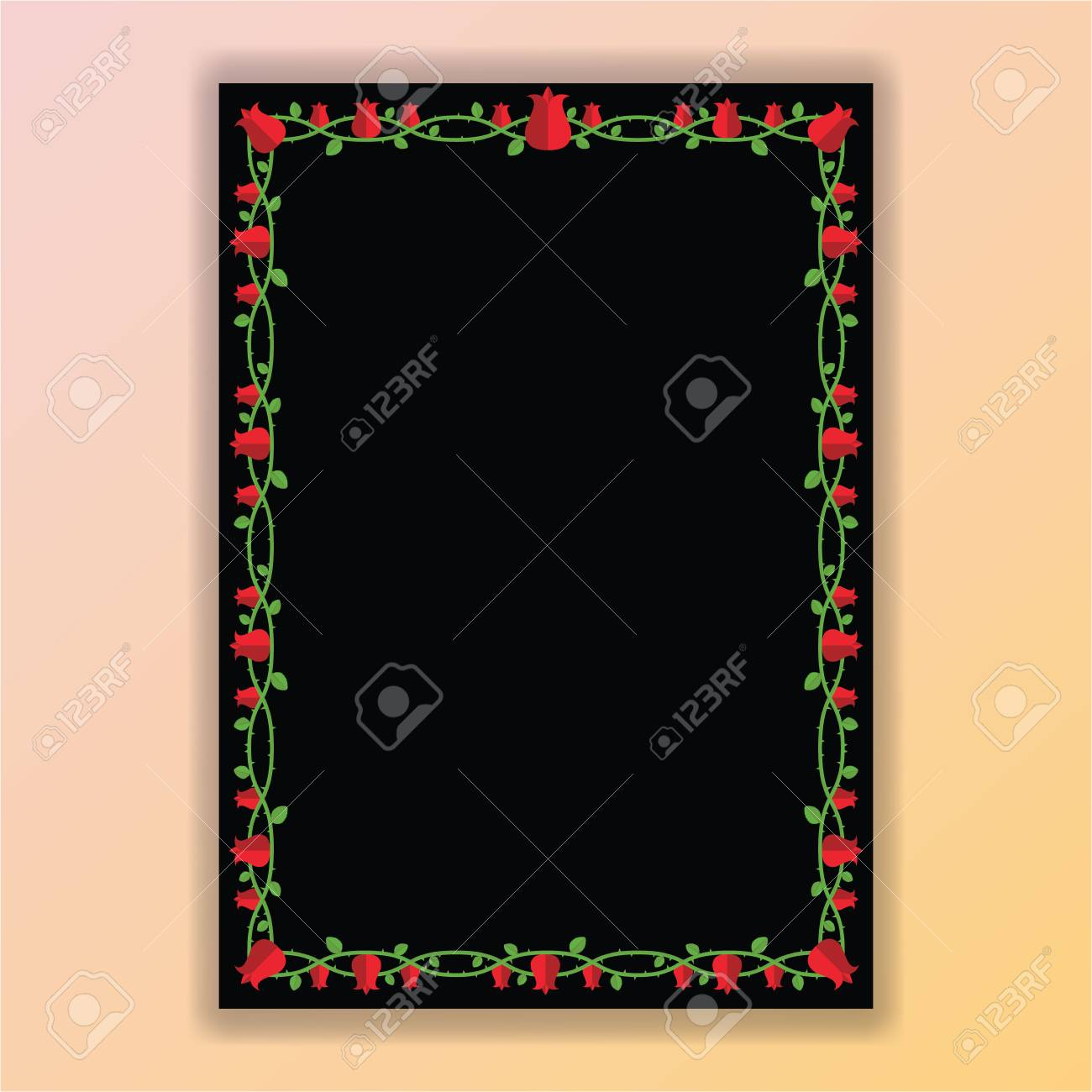 Floral Borders Red And Black Page Template For Web And Print