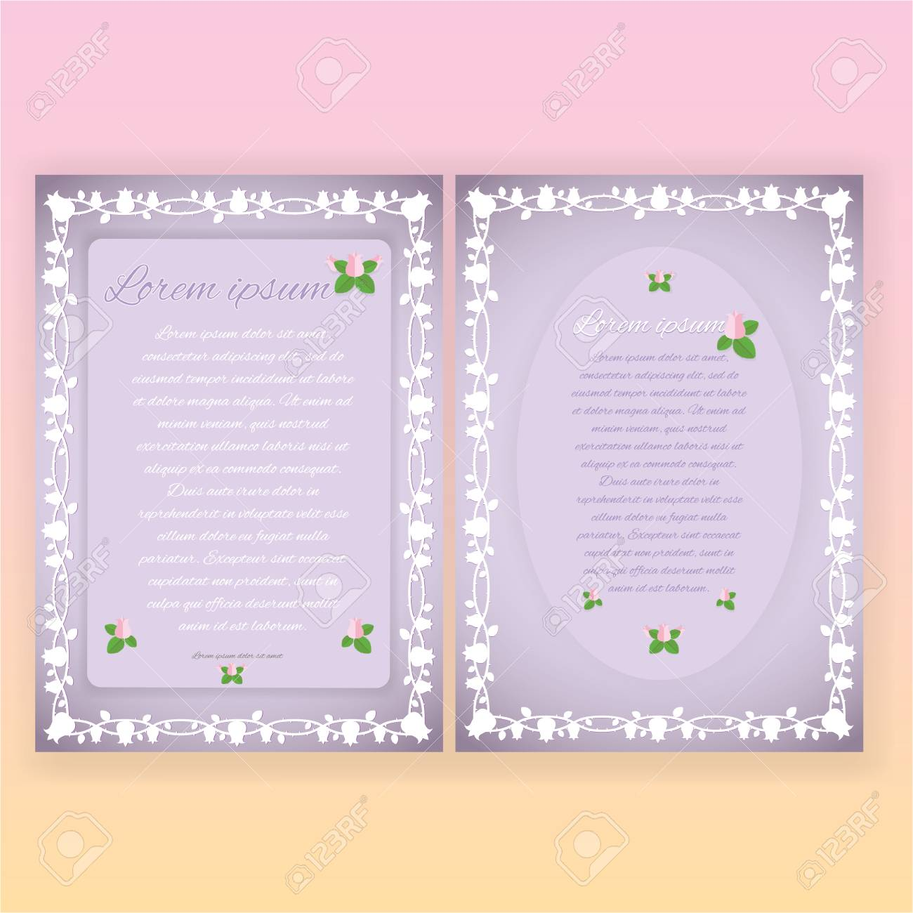 Floral Borders Two Page Templates For Web And Print Tulip Patterns