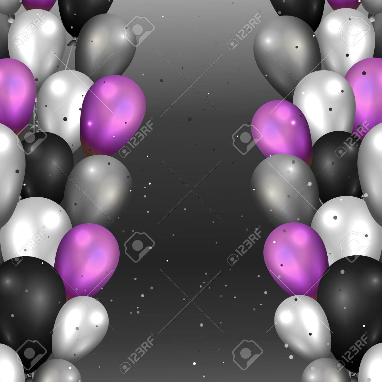 Realistic vector balloons background for web and print decoration, golden black and silver luxury illustration. - 133447477