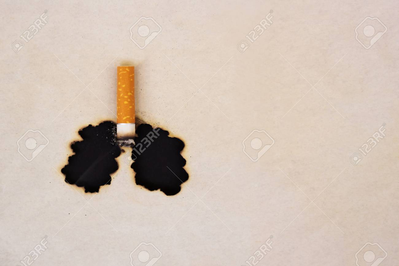 The symbol of the smoked lungs. Burnt paper and cigarette butt. World No Tobacco Day concept. Stop smoking. - 126134133