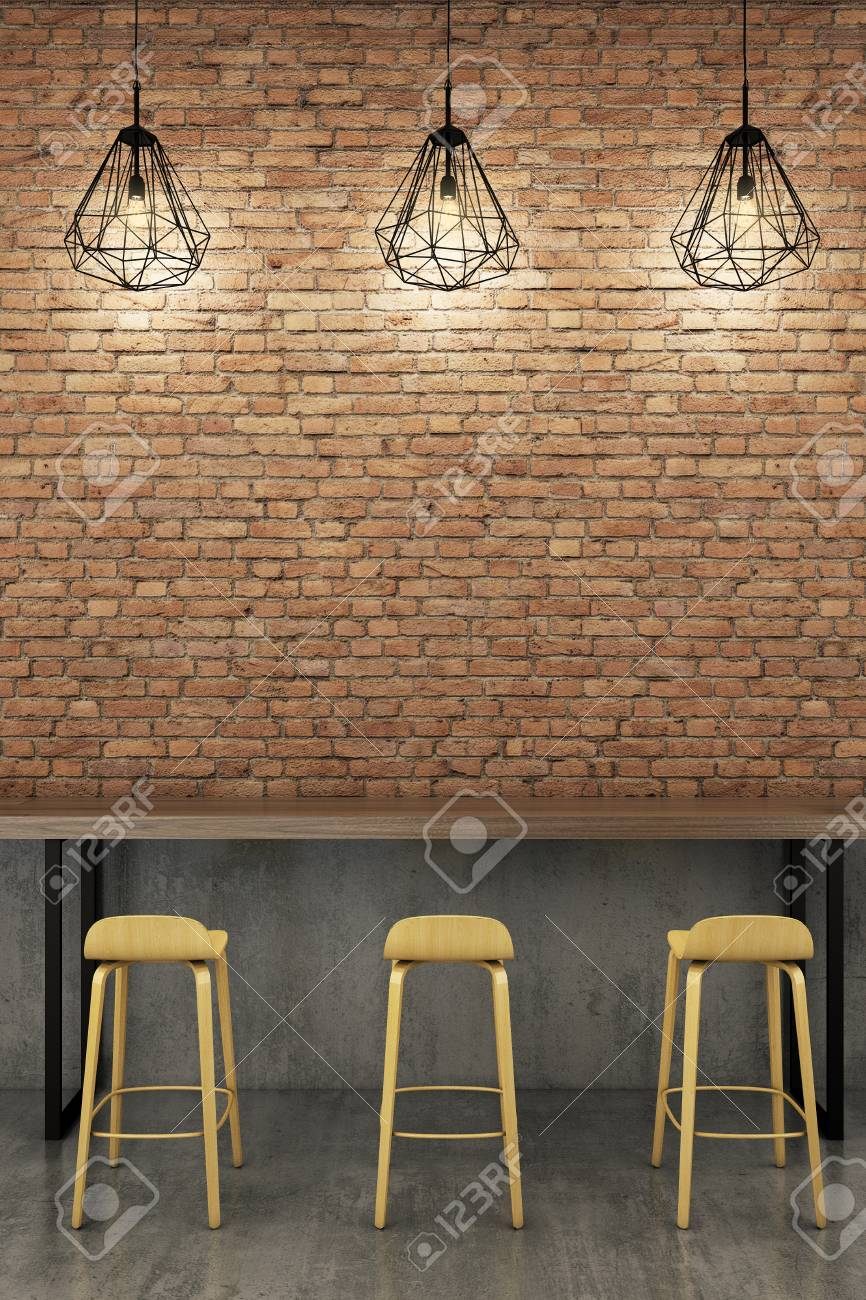 Counter Bar With Rustic Brick Wall Stock Photo