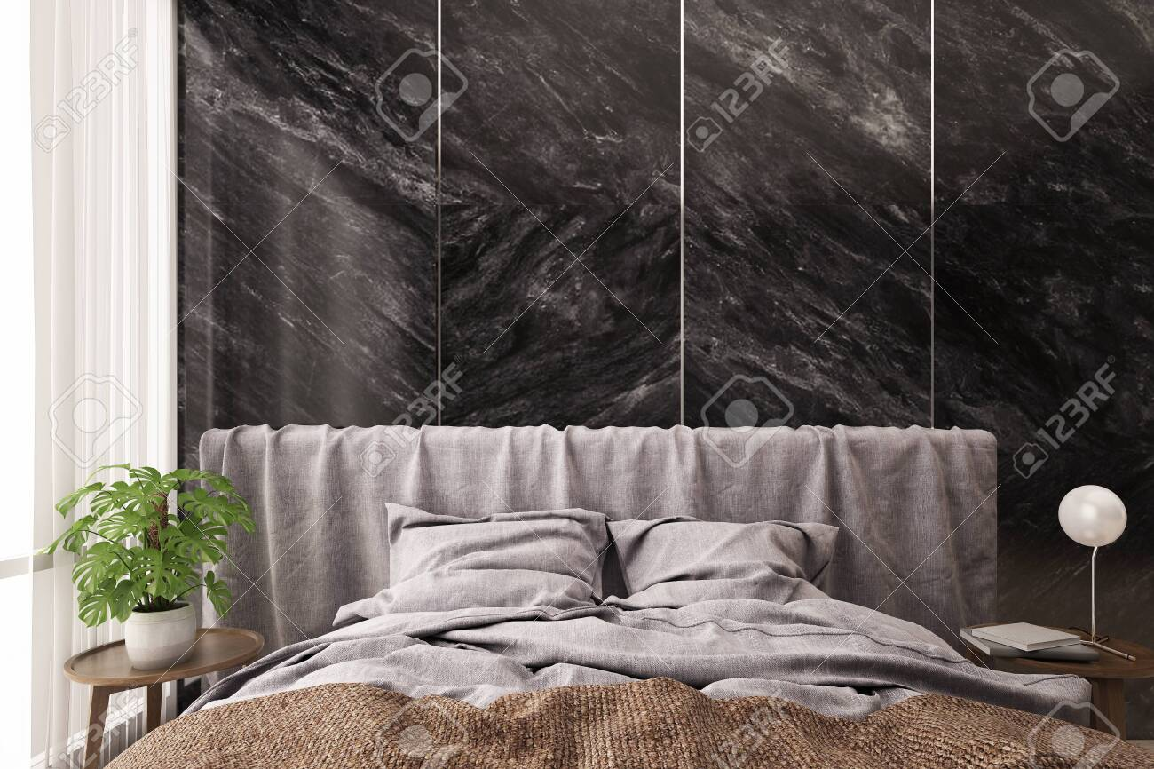 Bedroom Interior Bed And Side Table With Black Marble Wall Background Stock Photo Picture And Royalty Free Image Image 143585448