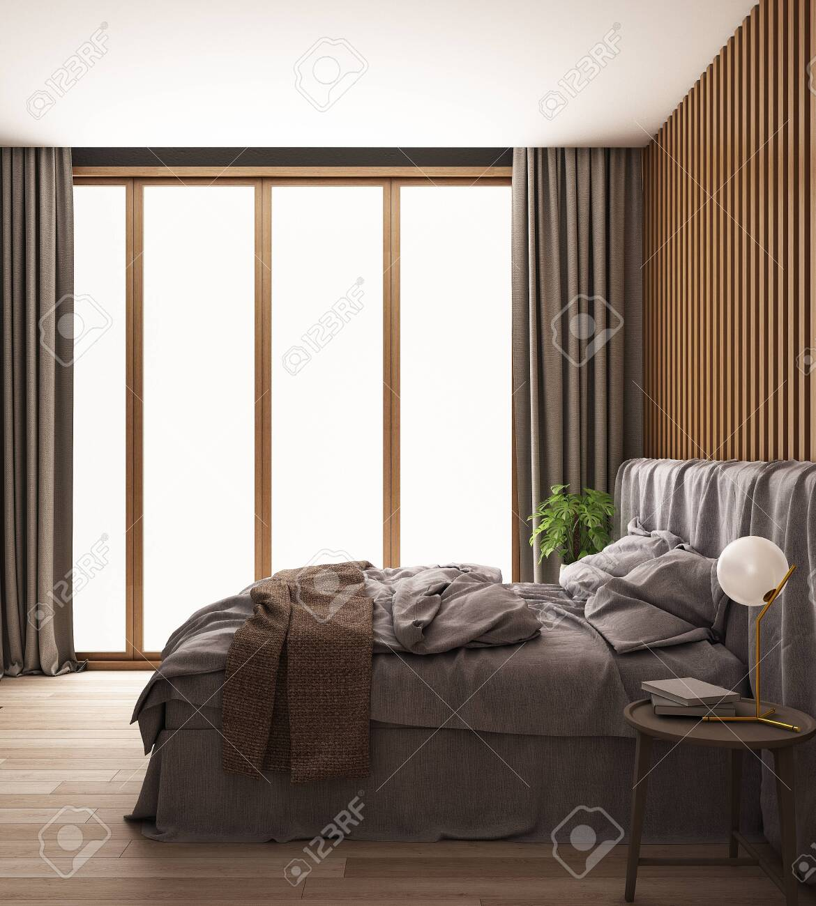 Interior Of Bedroom With Daylight Form Windows 3d Illustration Stock Photo Picture And Royalty Free Image Image 144894703