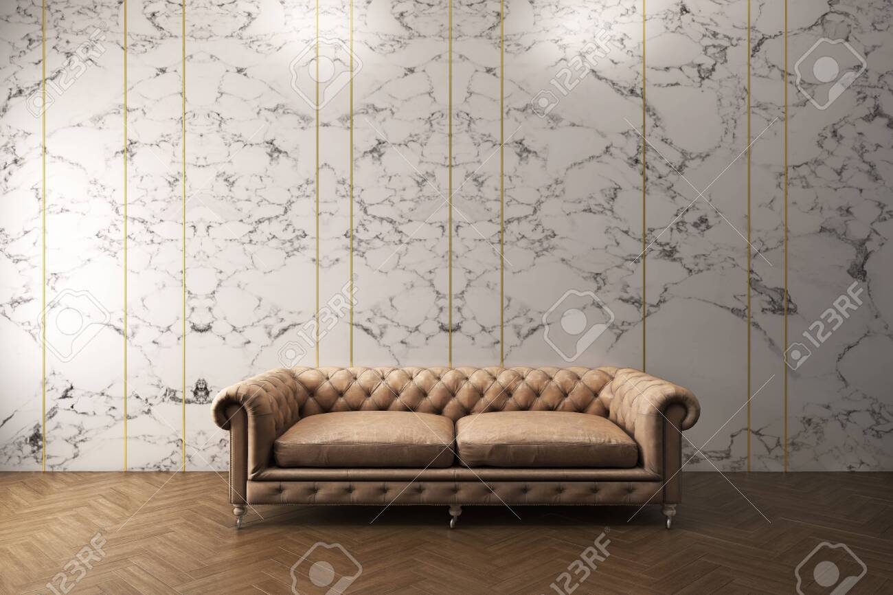 Classic Sofa With White Marble Pattern Wall Wooden Floor 3d Stock Photo Picture And Royalty Free Image Image 144894721