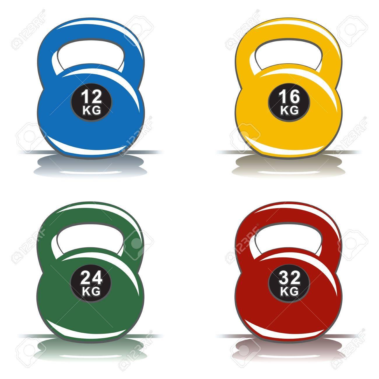 Colored kettlebells Stock Vector - 22208757
