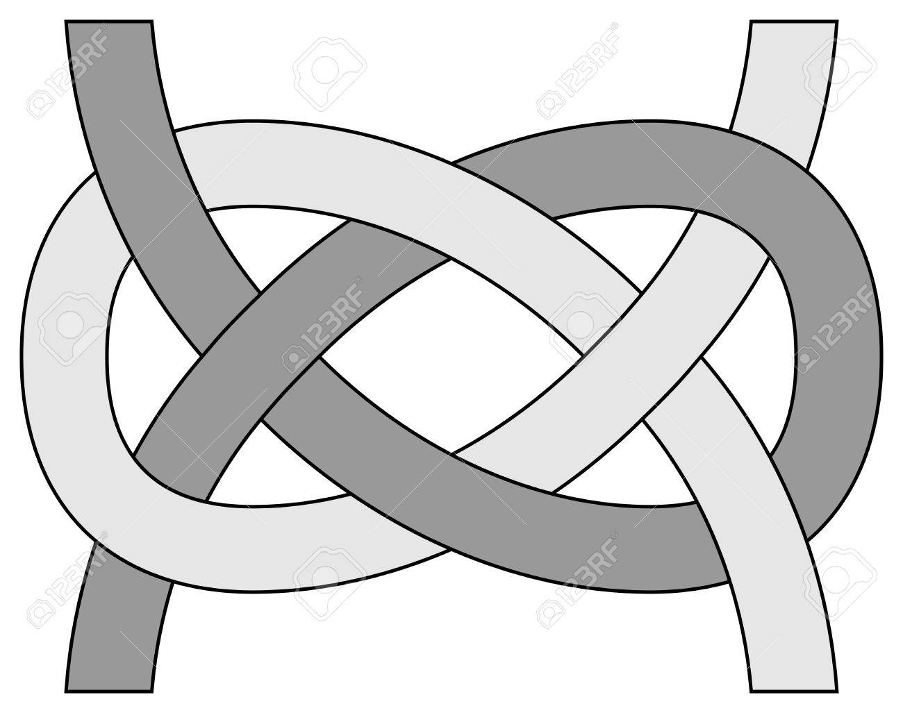Carrick bend (Josephine) knot isolated on white background