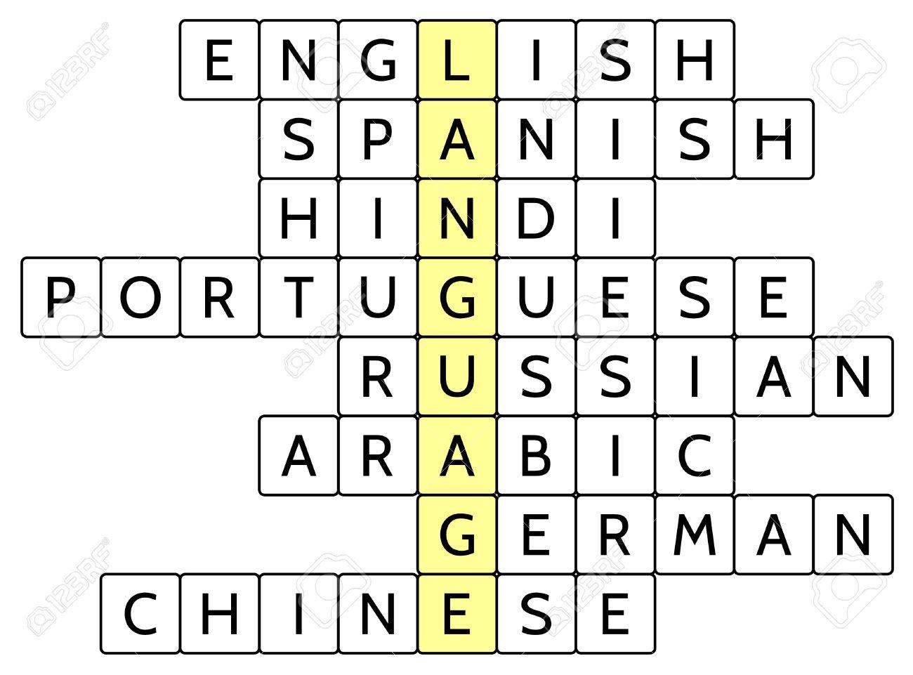 言語の単語のクロスワード パズル8 英語スペイン語ヒンディー語