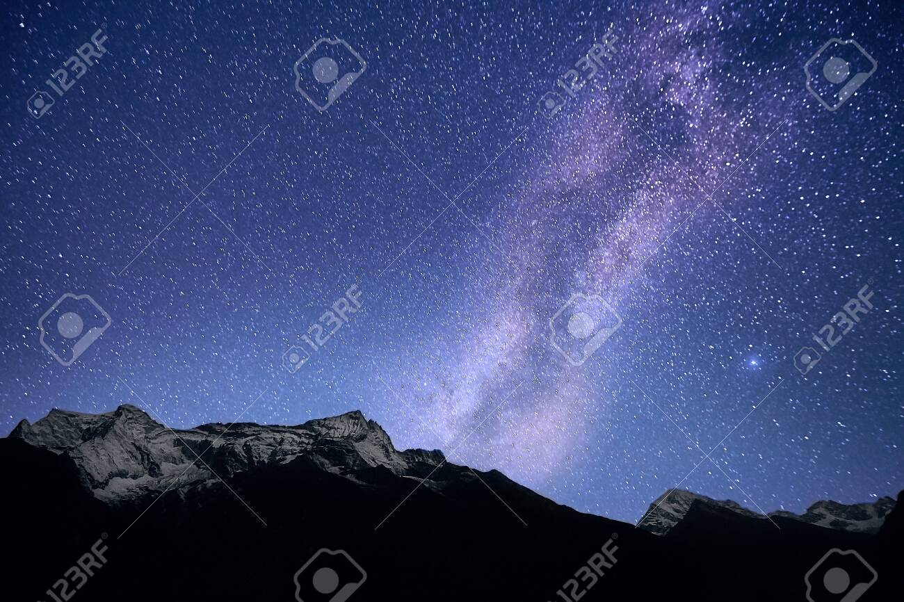 The Milky Way galaxy over the Himalayas. Nepal, Everest region - 134613358