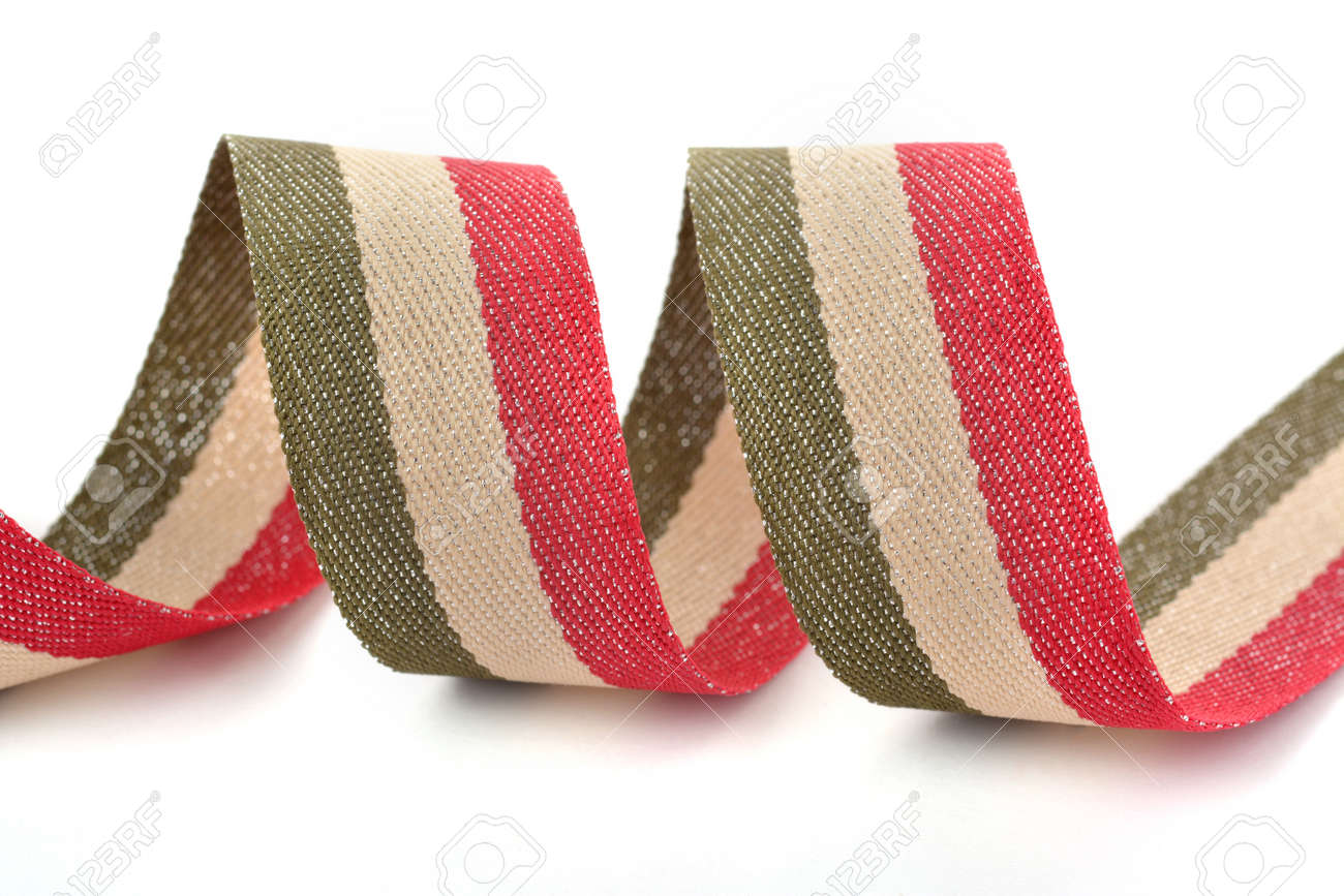 Red khaki green beige Cotton ribbon, strapping tape with curl on white backgroud. Use for sewing clothes, bags. Space for text. - 157396670