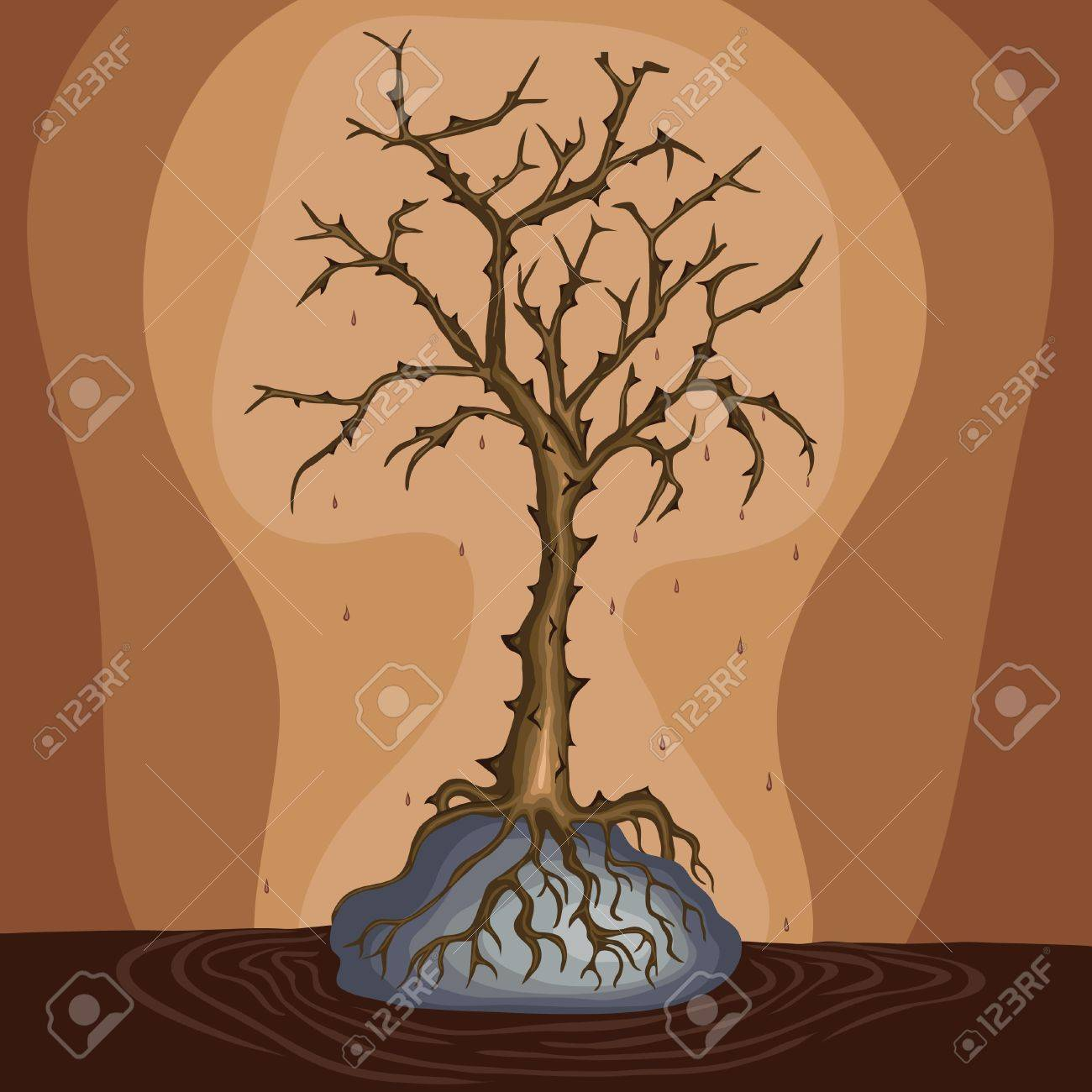 Dead tree on the rock, vector eps Stock Vector - 17870510