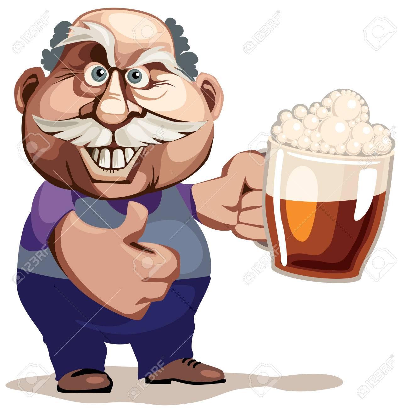 ビールのグラスを持つシニア男eps8 Cmyk 主催無料グラデーションの