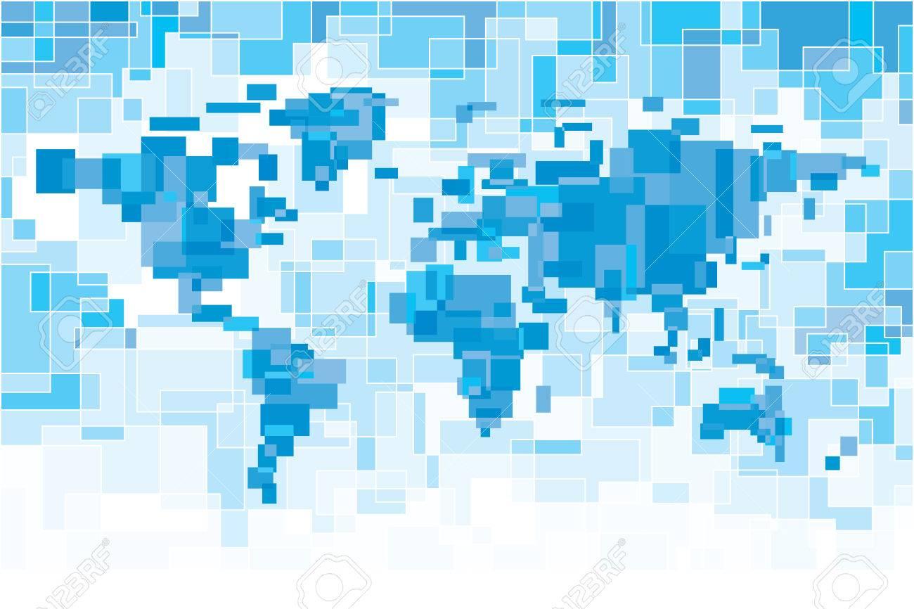 Blau Pixelig Weltkarte. Eps8. CMYK. Organisiert Von Schichten. Zwei ...