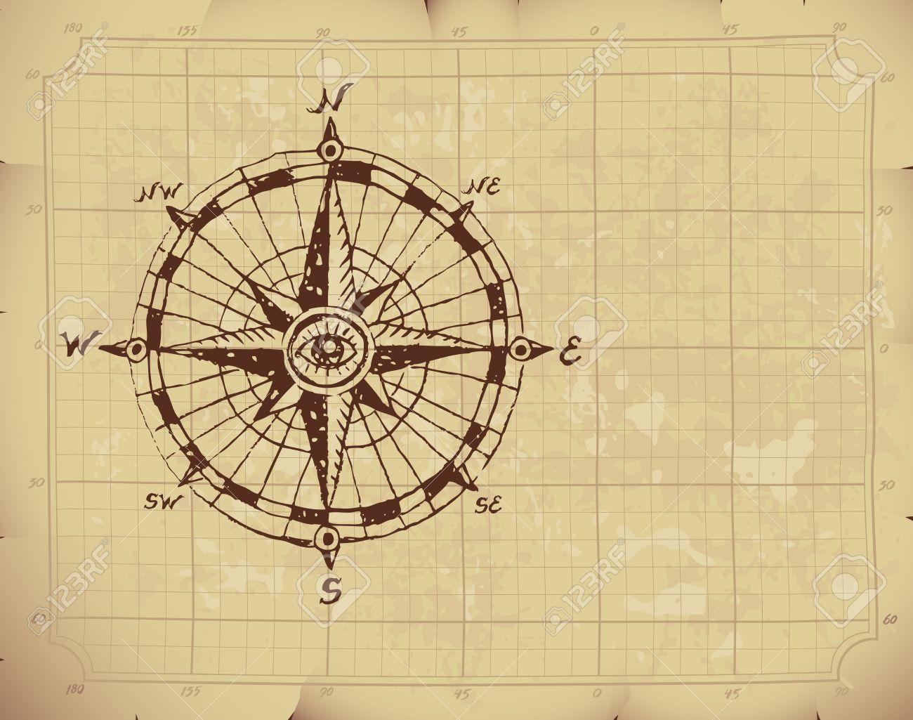 Kompass bleistiftzeichnung  Hand Gezeichnet Kompassrose Auf Altem Papier. Lizenzfrei Nutzbare ...