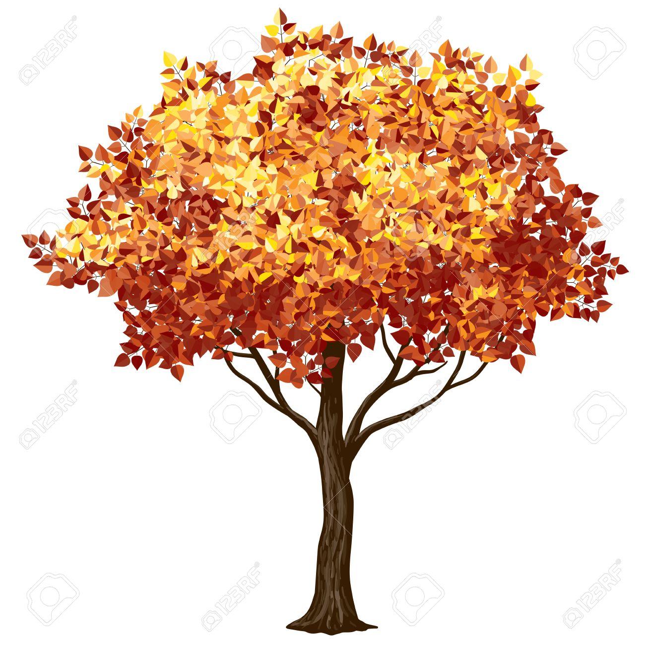 Baum Im Herbst Isoliert Auf Weiß. CMYK. Organisiert Von Schichten ...