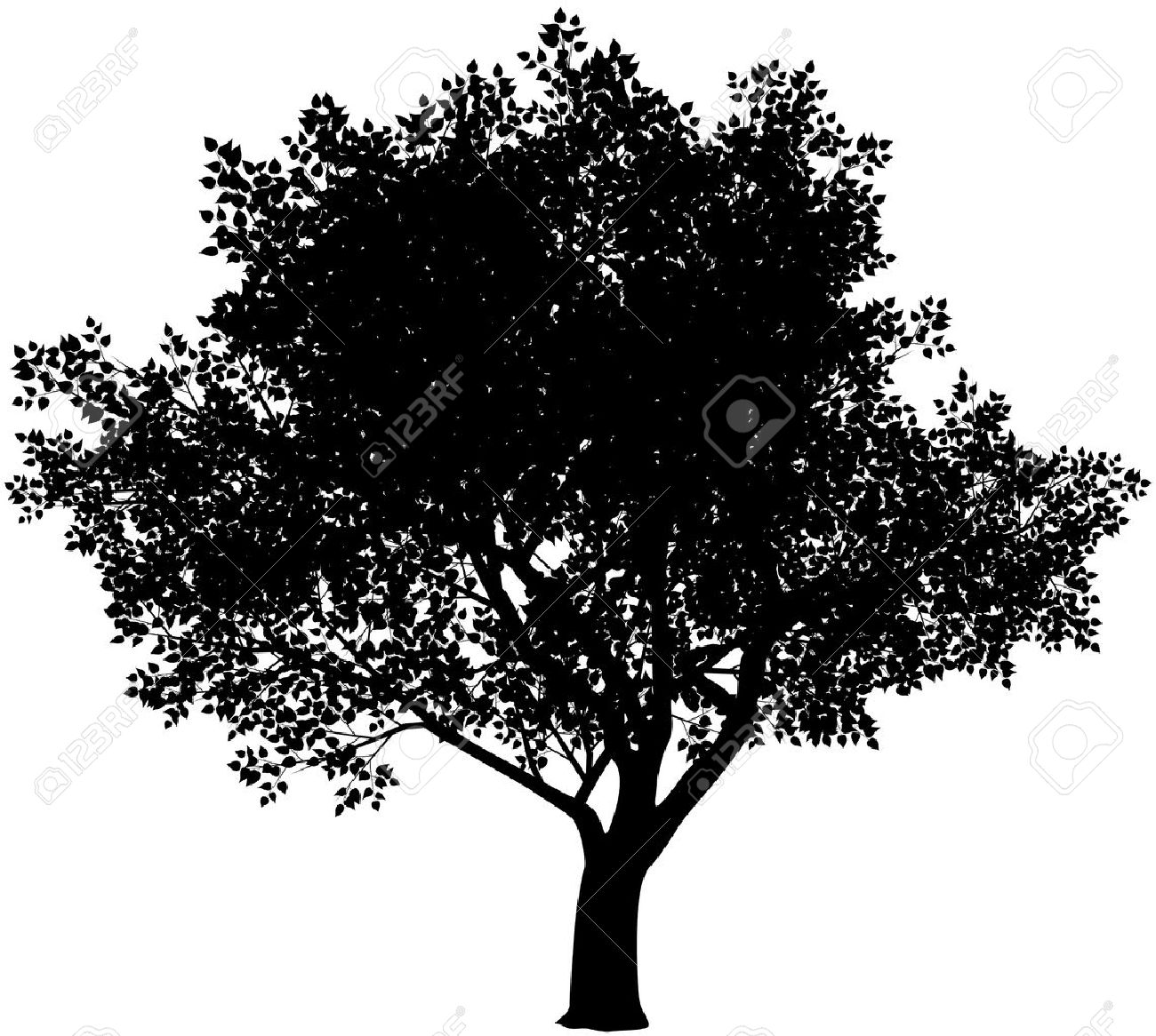 Vector vector black and white tree silhouette eps8 gradients free
