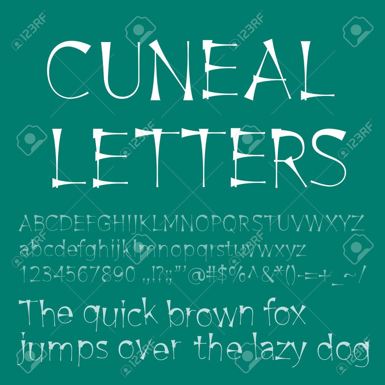 Vector Cuneal Buchstaben Und Zahlen. Eps8. RGB. Globale Farben ...