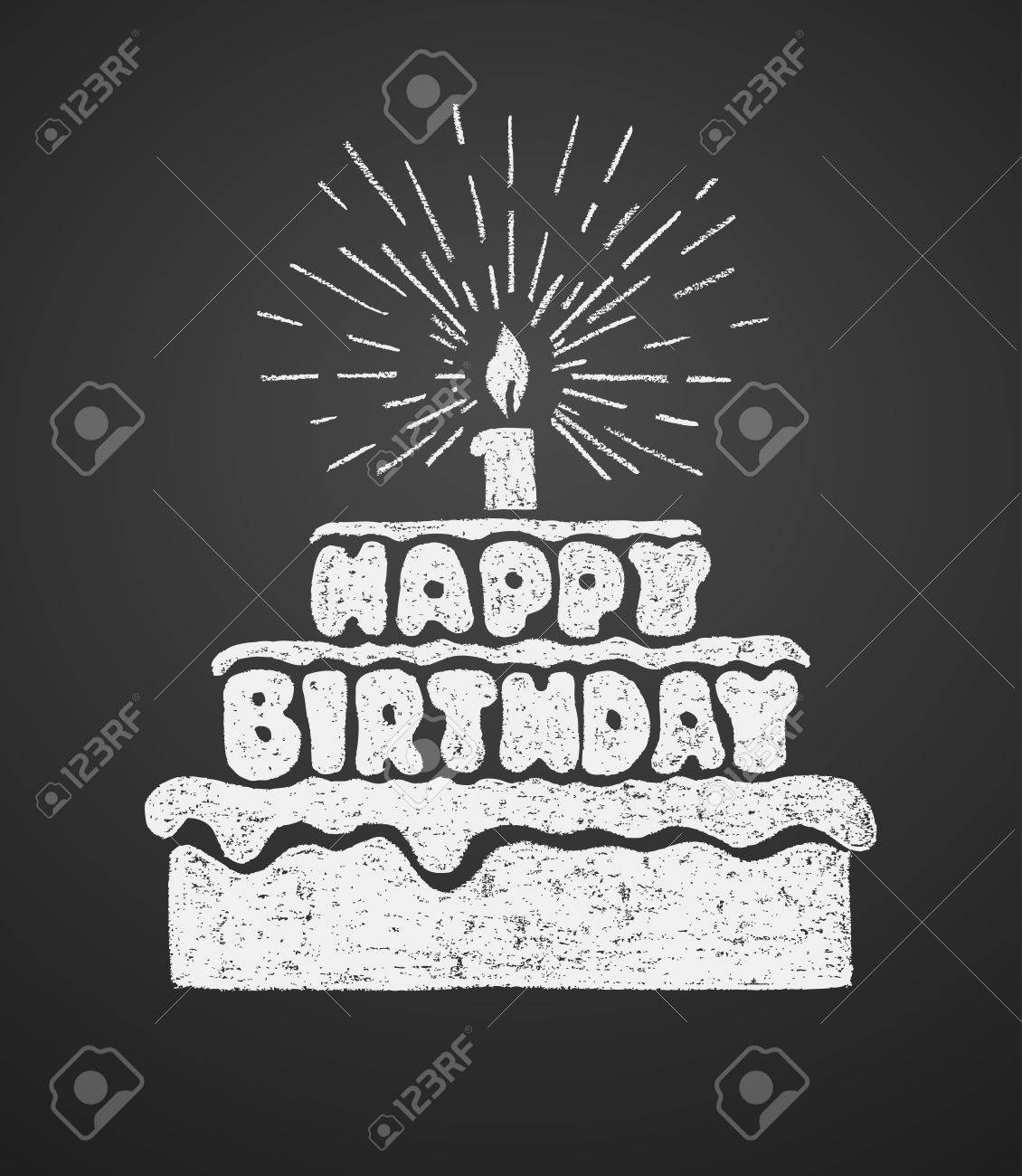 Cake With A Candle And Happy Birthday Text Vector Illustration