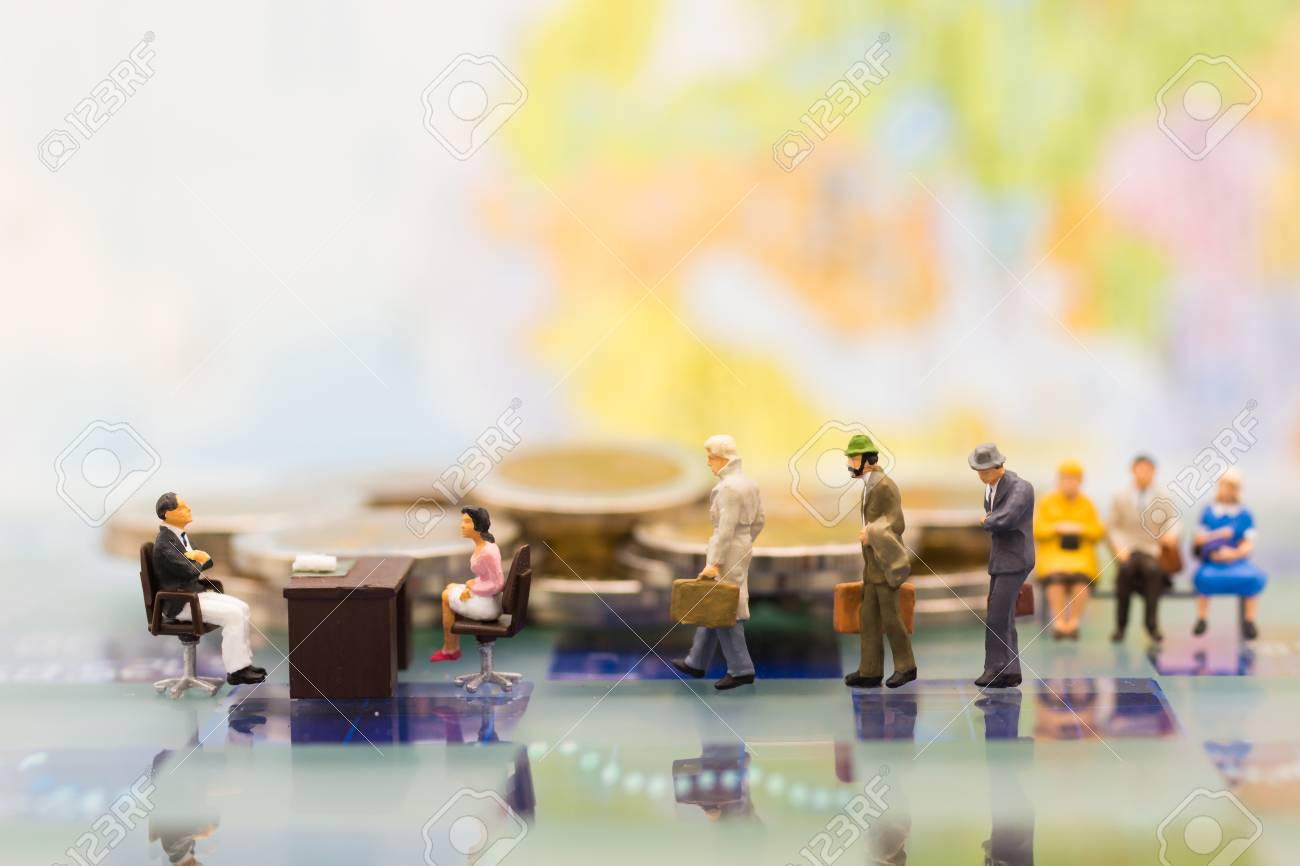 Miniature people: Recruiter interview applicants. Image use for background Choice of the best suited employee, HR, HRM, HRD, job recruiter concepts. - 93457222