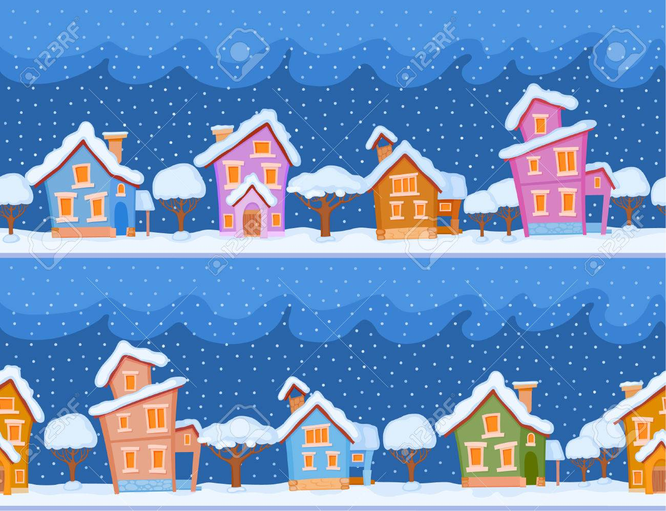 Backgrounds Of Winter Streets With Fabulous Houses And Trees. The Evening  Comes And The Snow