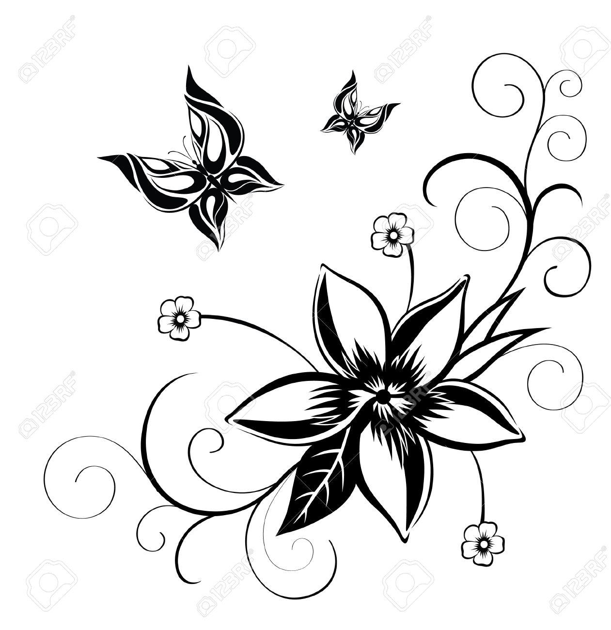 Dibujos De Flores Para Decorar. Mariposa Para Imprimir Dibujos De ...