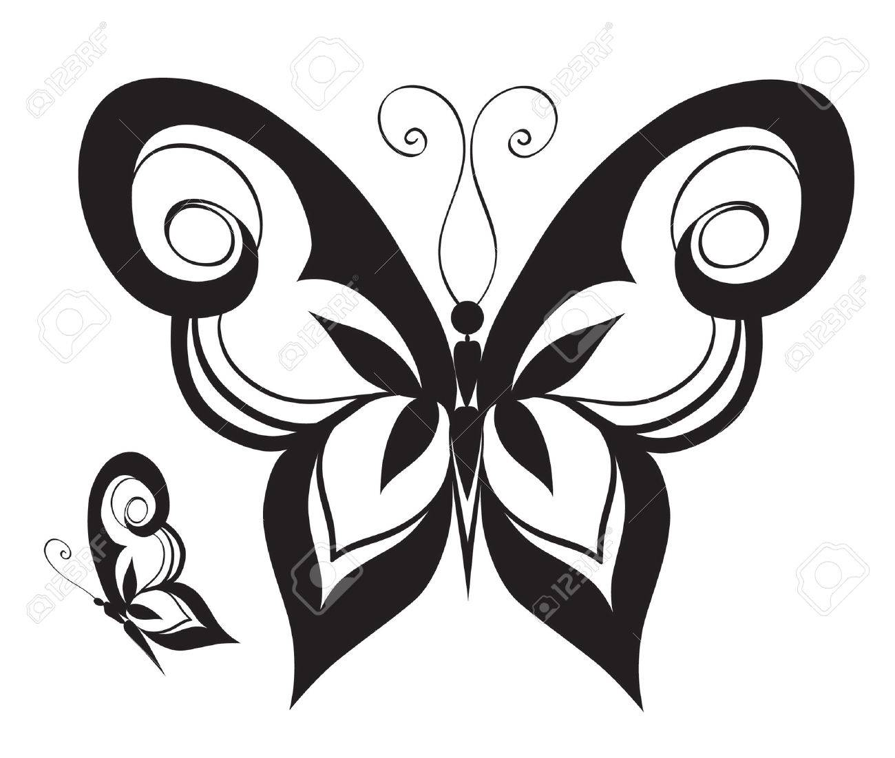 Abstract Silhouette Invented Decorative Butterfly Reminiscent
