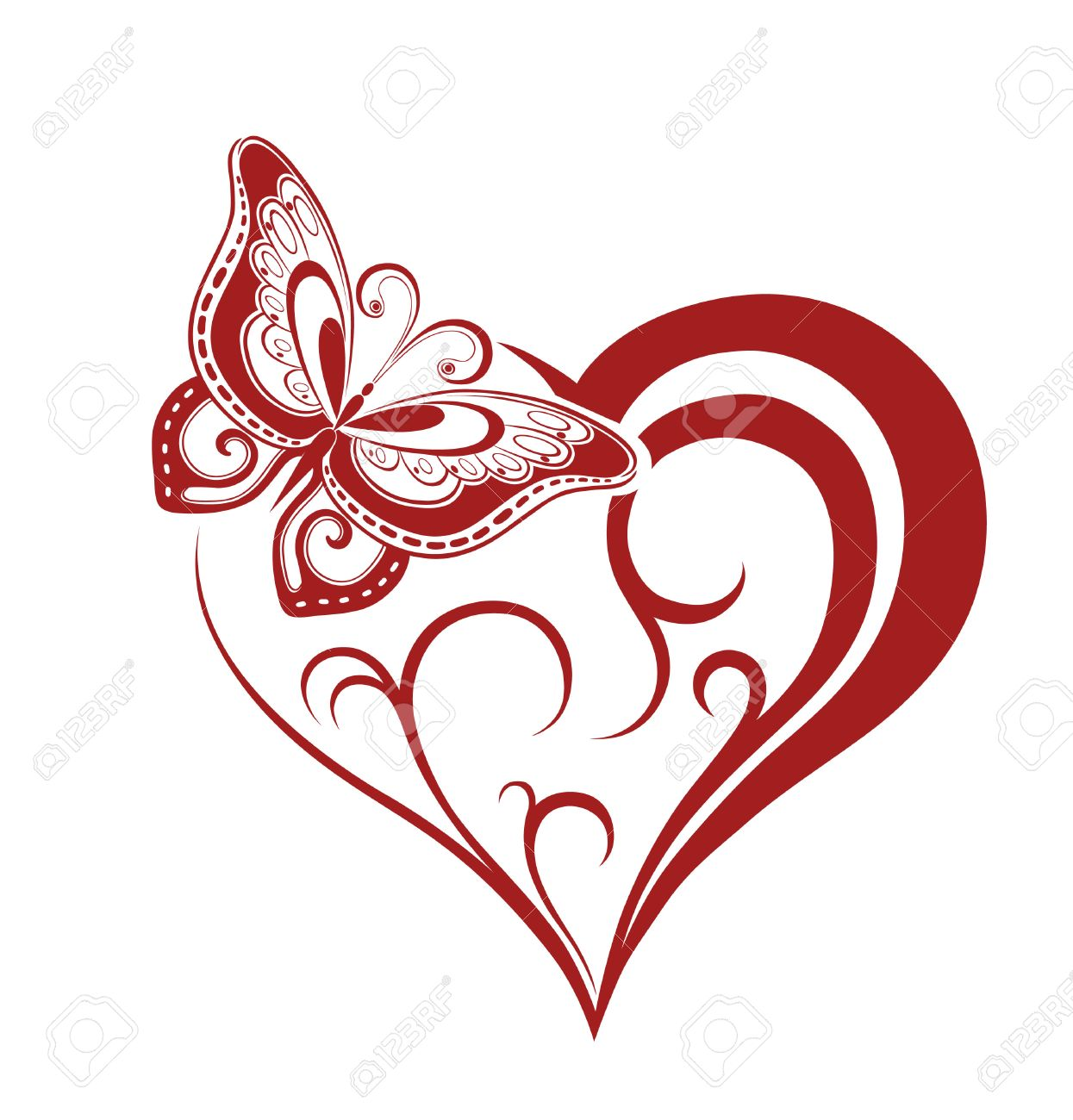 Abstract Silhouette Of Decorative Butterfly It Is Designed To