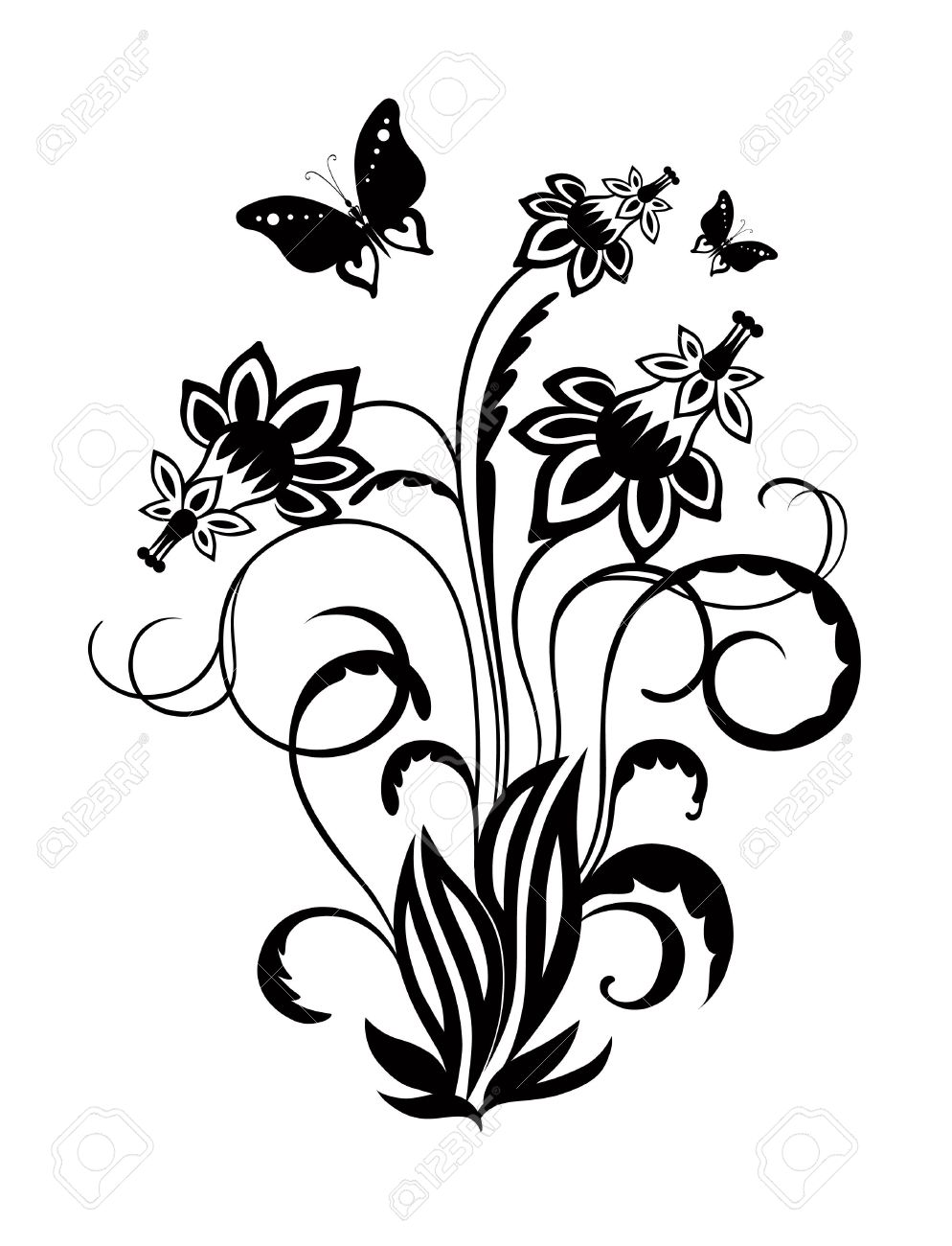 Abstract Silhouette Of Decorative Butterflies And Flowers It