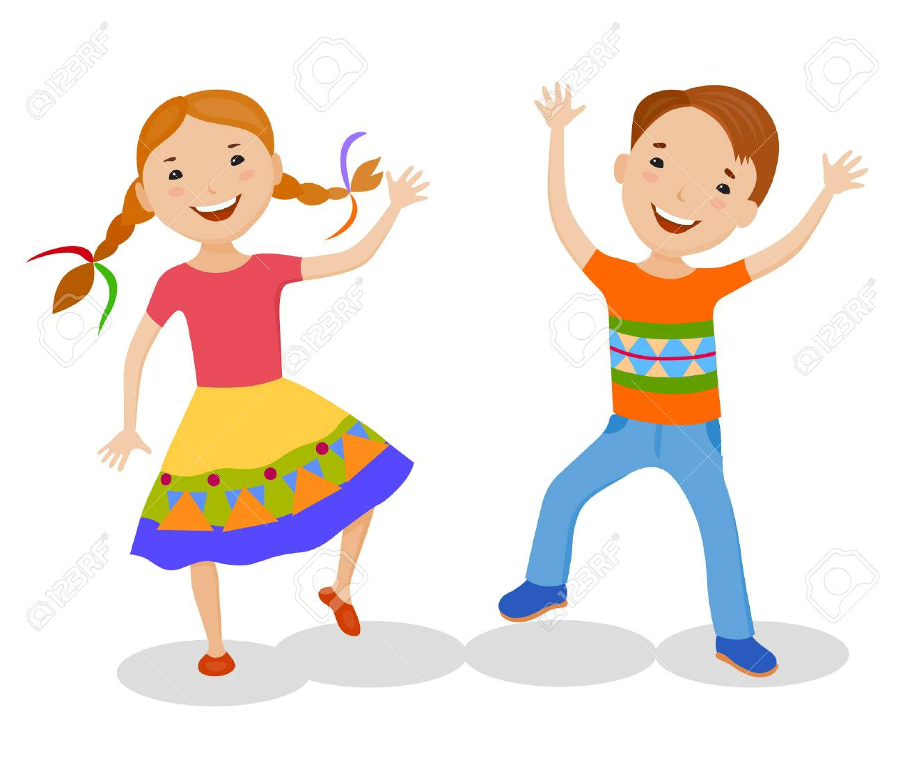 Dancing Of Little Cartoon Fun Kids In Colorful Clothes Royalty Free Cliparts Vectors And Stock Illustration Image 68552132